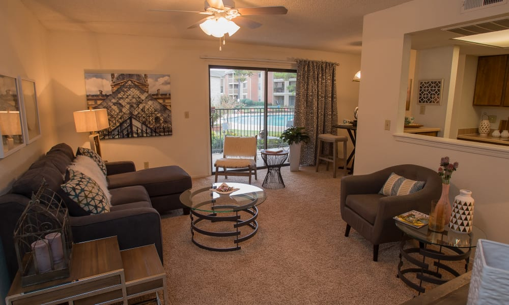 Spacious living room at Copperfield Apartments in Oklahoma City, Oklahoma