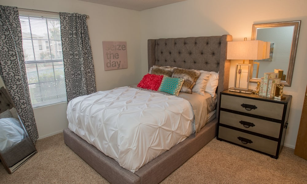 Bright bedroom at Copperfield Apartments in Oklahoma City, Oklahoma