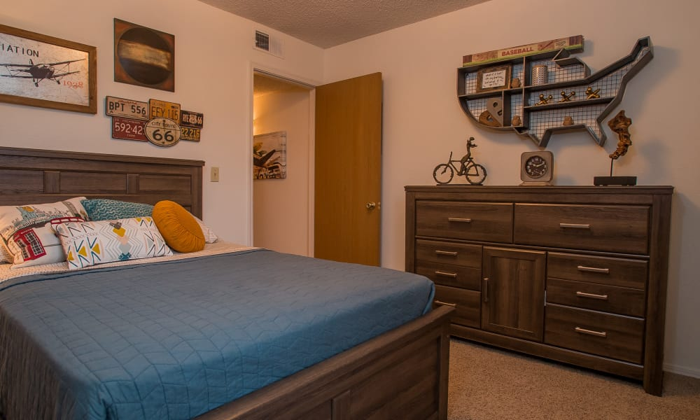 Carpeted bedroom at Copperfield Apartments in Oklahoma City, Oklahoma