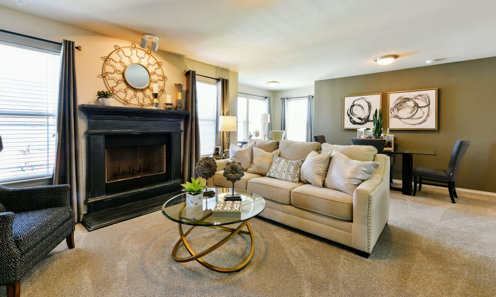 Living room at Cottages at Abbey Glen Apartments in Lubbock, Texas