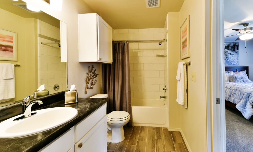 Cottages at Abbey Glen Apartments offers spacious bathrooms in Lubbock, Texas