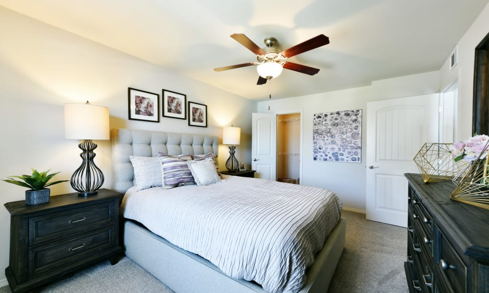 Spacious bedroom at Cottages at Abbey Glen Apartments in Lubbock, Texas