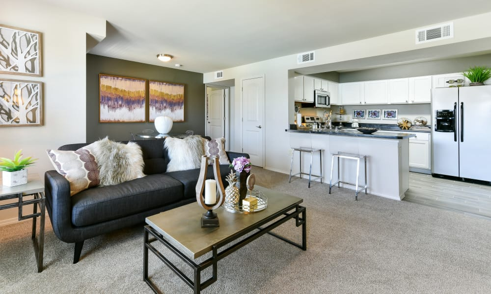 Spacious living area at Cottages at Abbey Glen Apartments in Lubbock, Texas