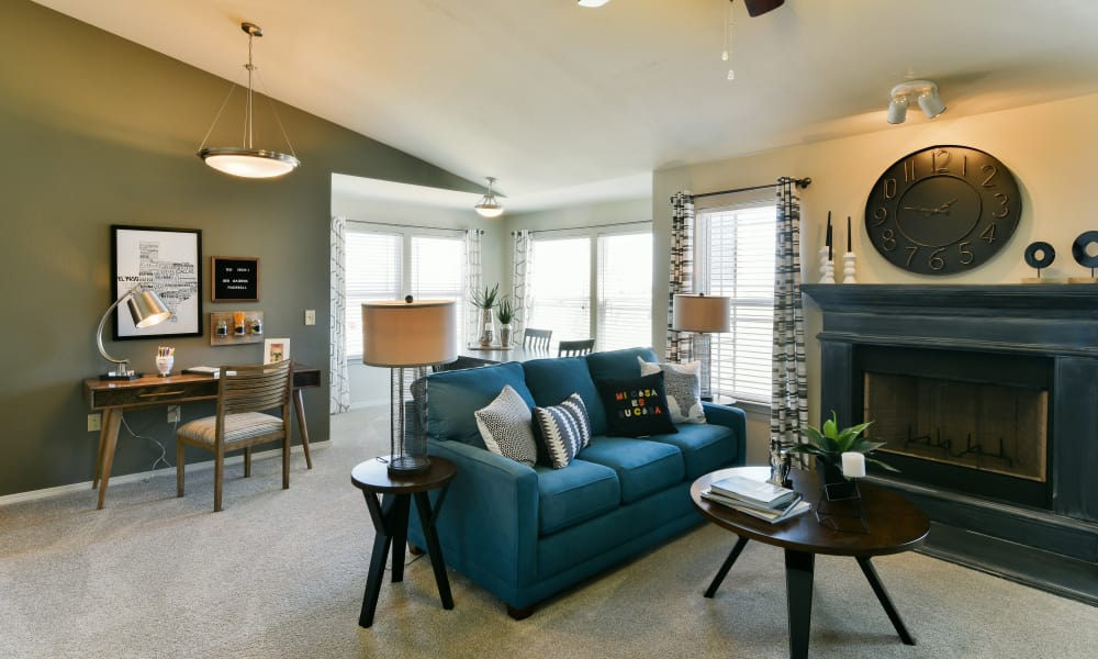 Cottages at Abbey Glen Apartments offers a spacious living room in Lubbock, Texas