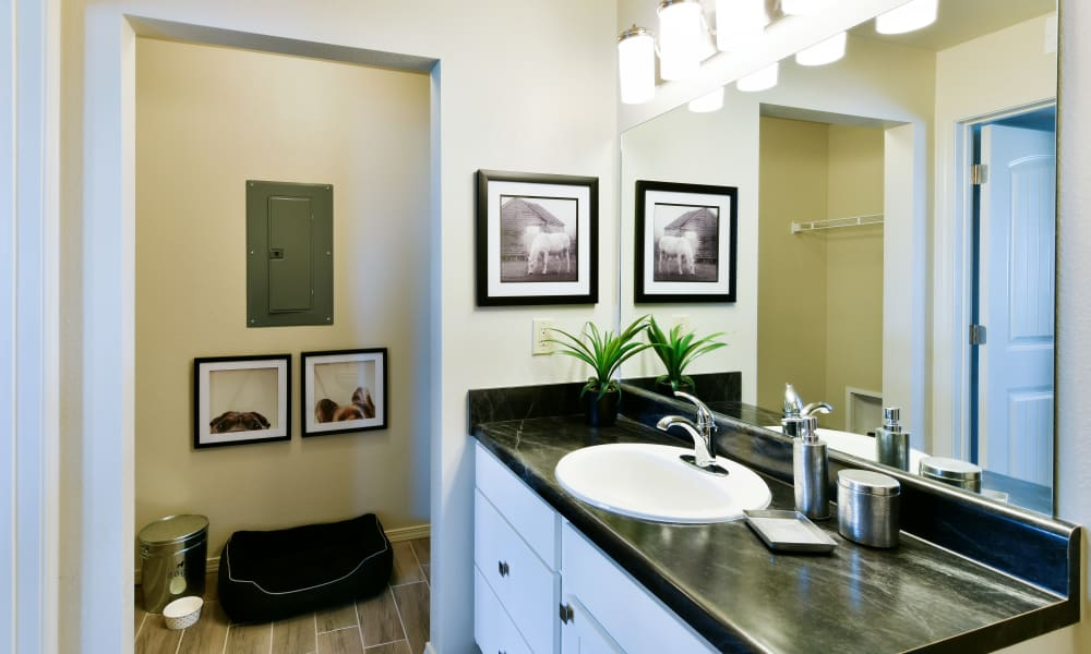 Bathroom at Cottages at Abbey Glen Apartments in Lubbock, Texas