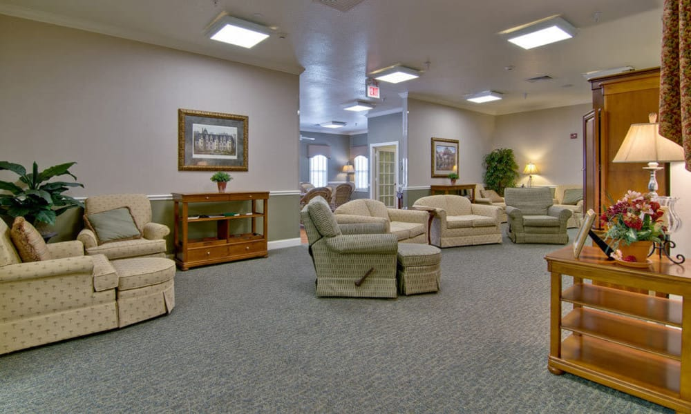 Quiet reading room at Foxberry Terrace Senior Living in Webb City, Missouri