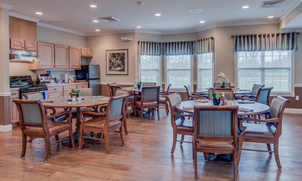 Dining area at the center of Foxberry Terrace Senior Living in Webb City, Missouri