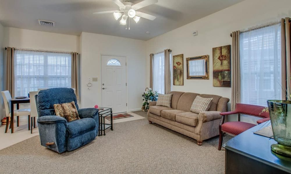 Cottage living room at Foxberry Terrace Senior Living in Webb City, Missouri