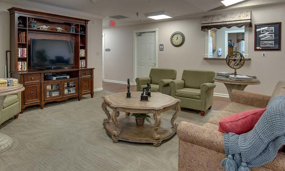 Tv lounge with ample seating at Eiffel Gardens in Paris, Tennessee