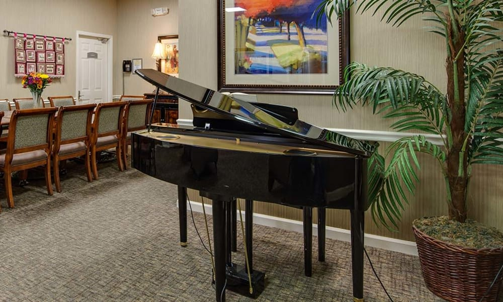 Music corner in the community dining hall at Dogwood Pointe in Milan, Tennessee