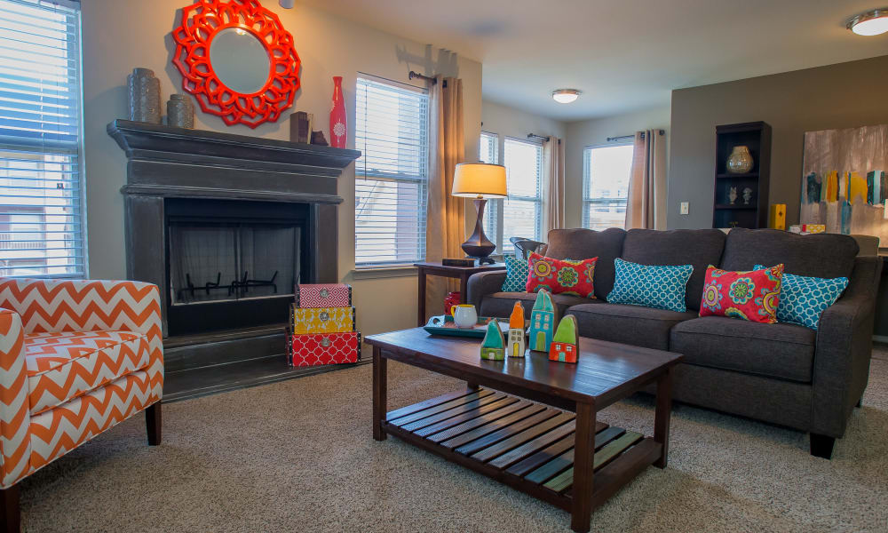 Spacious living area at Icon at Norman in Norman, Oklahoma