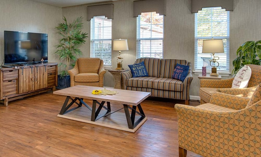Entertainment room with comfortable seating at Celebration Way in Shelbyville, Tennessee
