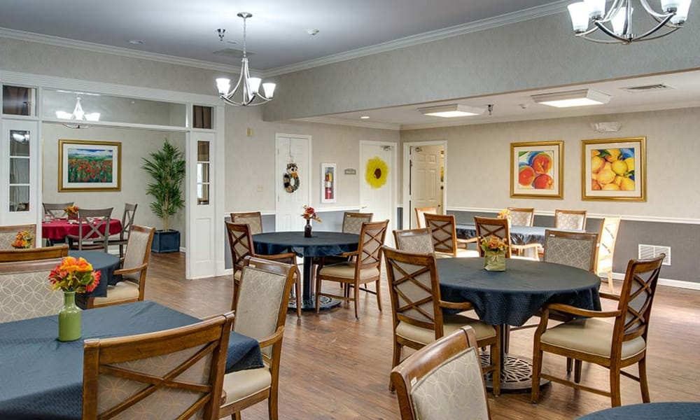 Dining area at the center of Celebration Way in Shelbyville, Tennessee