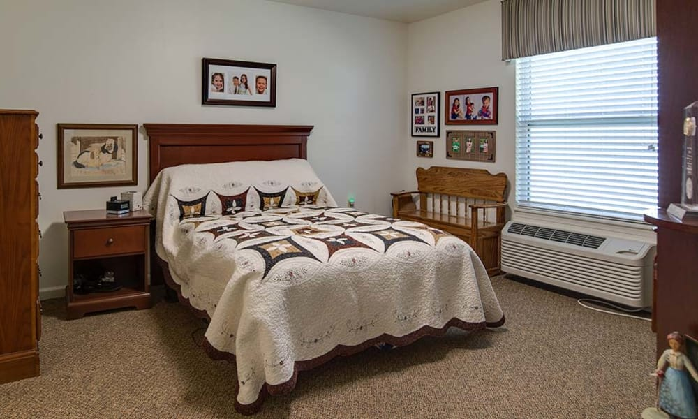 Independent Living bedroom at Carrington Place in Pittsburg, Kansas