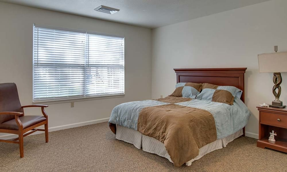 Assisted Living bedroom at Carrington Place Senior Living in Pittsburg, Kansas