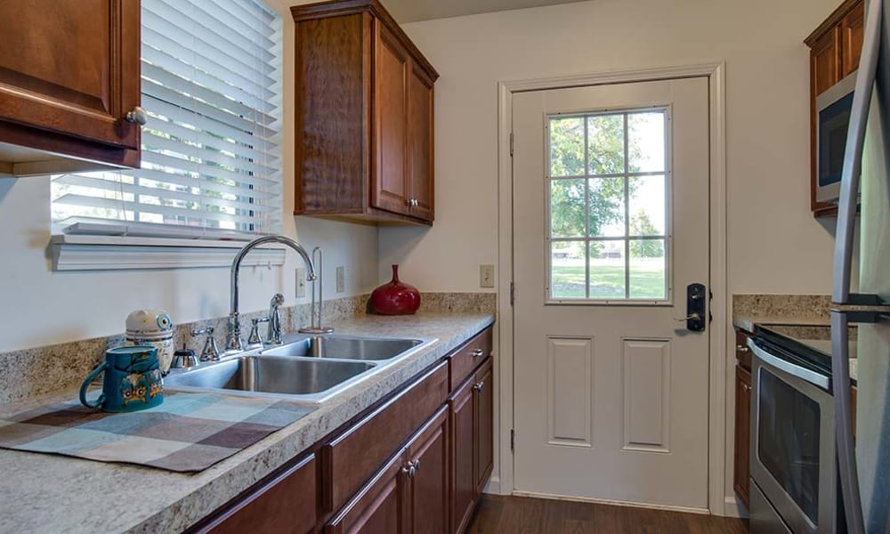 Living space kitchen at Carrington Place in Pittsburg, Kansas