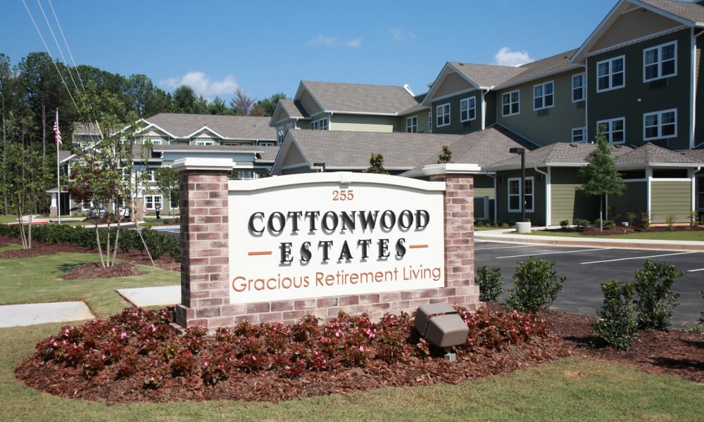 Branding and signage at Cottonwood Estates Gracious Retirement Living in Alpharetta, Georgia