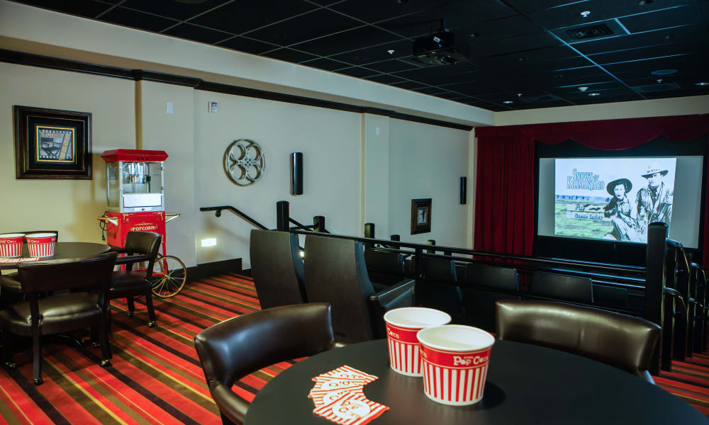 Onsite movie theater for residents at Cottonwood Estates Gracious Retirement Living in Alpharetta, Georgia