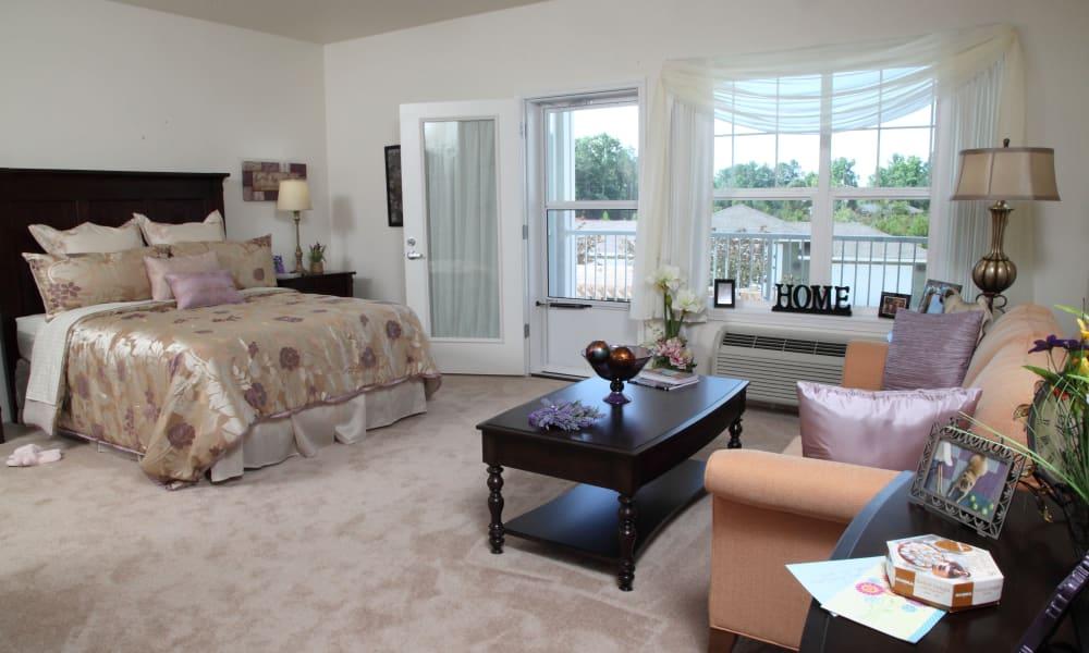 A studio floor plan at Cottonwood Estates Gracious Retirement Living in Alpharetta, Georgia