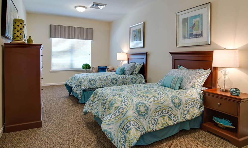 Spacious bedroom offered at Capetown Senior Living in Cape Girardeau, Missouri