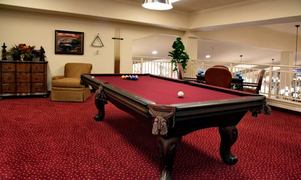 Billiards table for residents at Cypress Springs Gracious Retirement Living in Bradenton, Florida