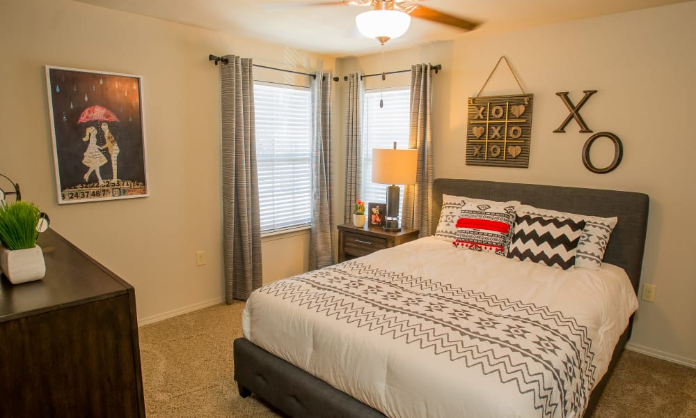 Bright bedroom with a view at Tuscany Ranch in Waco, Texas