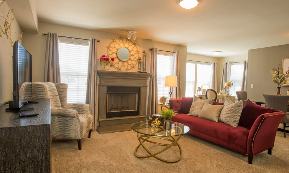 Spacious living room with a fireplace at Tuscany Ranch in Waco, Texas
