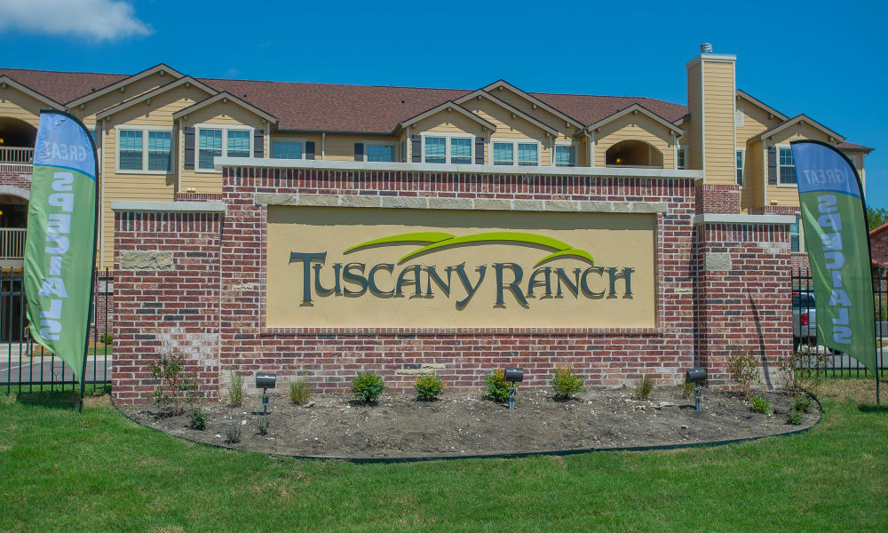 Front sign at Tuscany Ranch in Waco, Texas