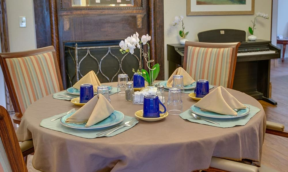 Table set for 4 at Victorian Place of Cuba Senior Living in Cuba, Missouri