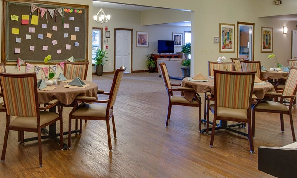 Dining area at the center of Victorian Place of Cuba Senior Living in Cuba, Missouri