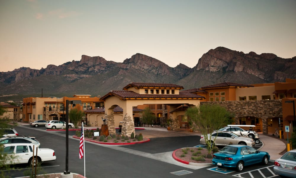 Building exterior and main entrance to Desert Springs Gracious Retirement Living in Oro Valley, Arizona