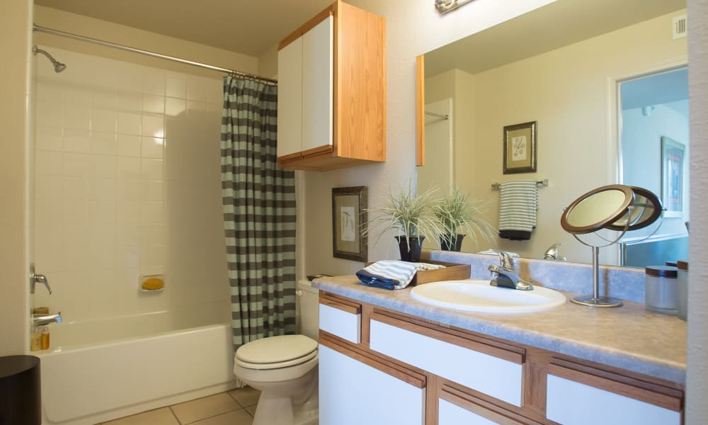 Bright bathroom at Villas at Stonebridge in Edmond, Oklahoma