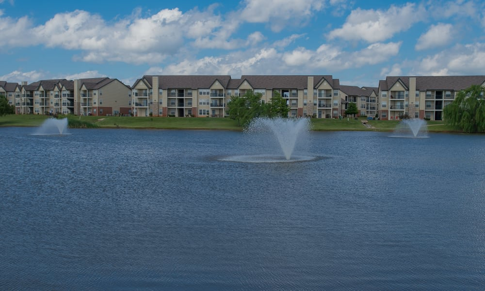 Water feature in Villas at Stonebridge's pond in Edmond, Oklahoma