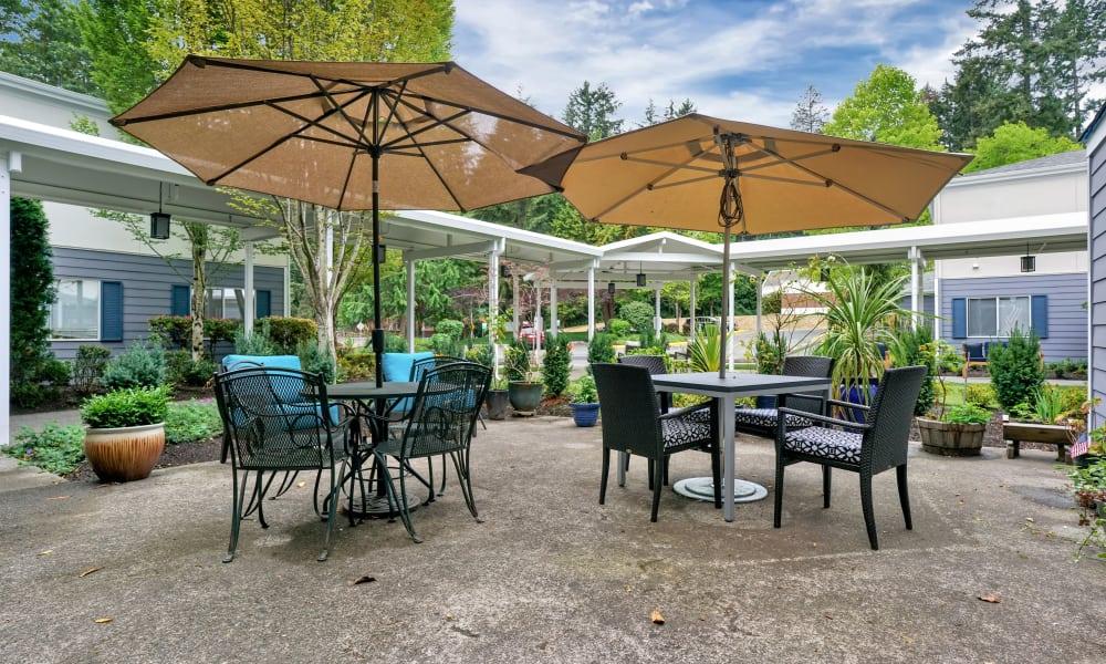 Patio furniture at Mountlake Terrace Plaza in Mountlake Terrace, Washington