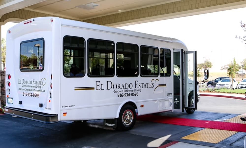 Community bus for residents at El Dorado Estates Gracious Retirement Living in El Dorado Hills, California