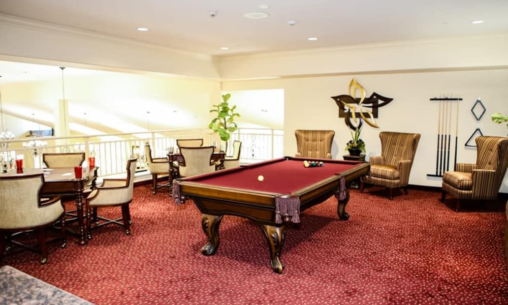 Billiards table for residents at El Dorado Estates Gracious Retirement Living in El Dorado Hills, California