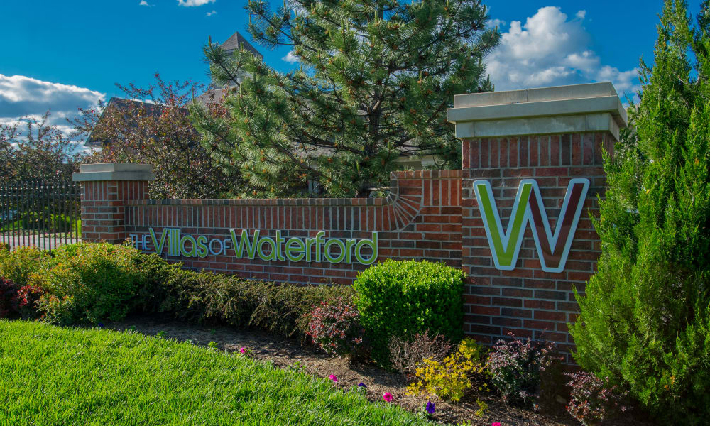 Front sign at Villas of Waterford Apartments in Wichita, Kansas