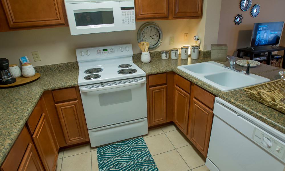 Kitchen with ample counter space at Villas of Waterford Apartments in Wichita, Kansas