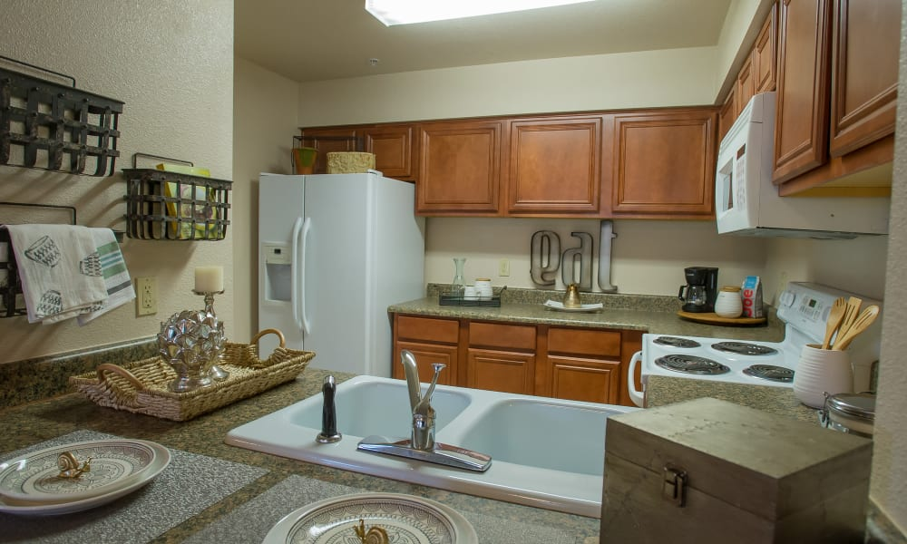 Bright well decorated kitchen at Villas of Waterford Apartments in Wichita, Kansas