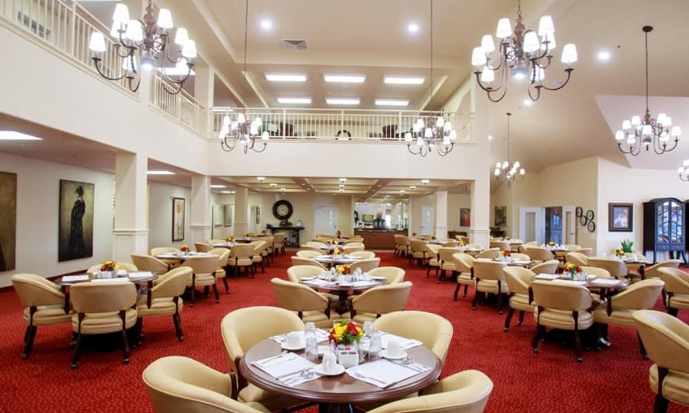 Large community dining room at Estrella Estates Gracious Retirement Living in Goodyear, Arizona