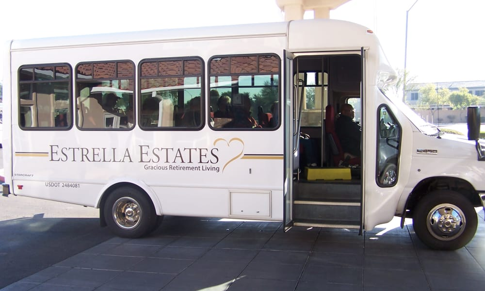 Community bus for residents at Estrella Estates Gracious Retirement Living in Goodyear, Arizona