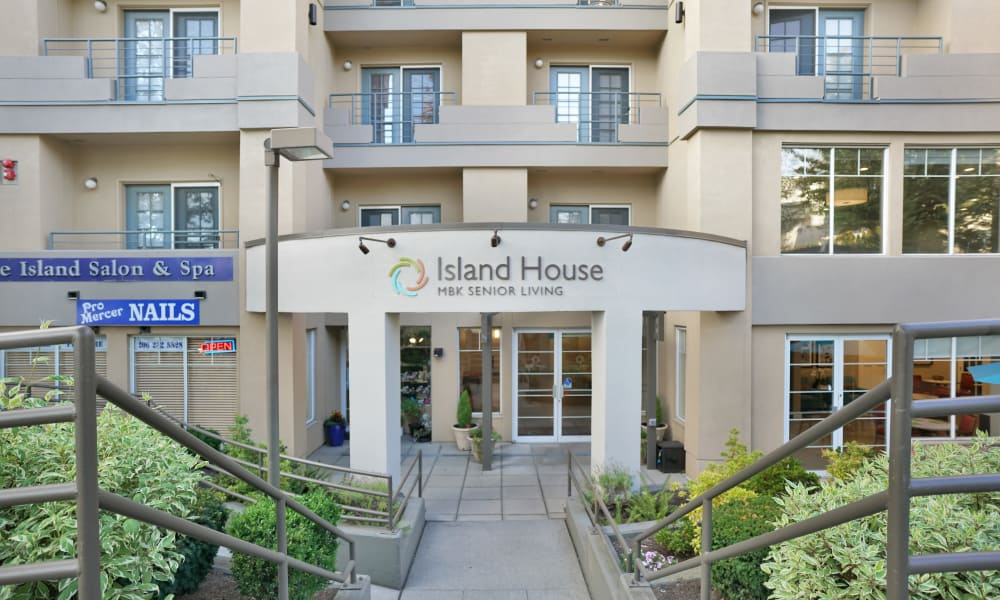 Entrance to building at Island House Assisted Living in Mercer Island, Washington
