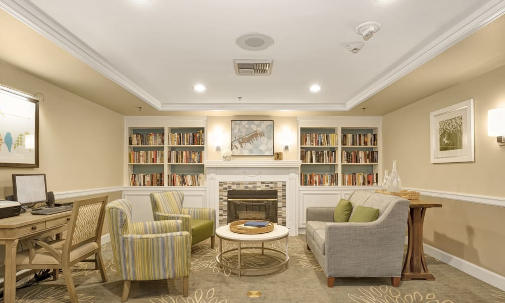 Library room at Island House Assisted Living in Mercer Island, Washington