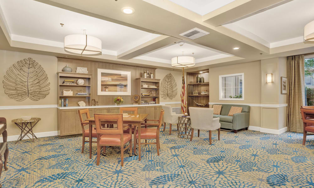 Activities and seating area at Island House Assisted Living, in Mercer Island, Washington