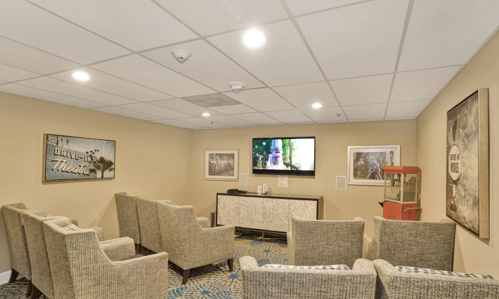Movie room at Island House Assisted Living in Mercer Island, Washington