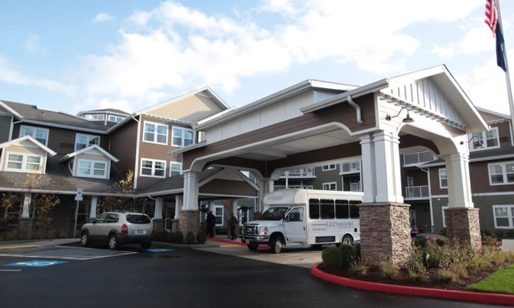 Building exterior and main entrance at Glenmoore Gracious Retirement Living in Happy Valley, Oregon