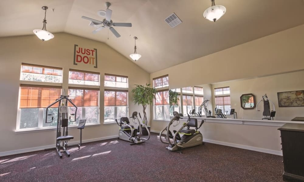 Community exercise room for residents at Guelph Lake Commons in Guelph, Ontario