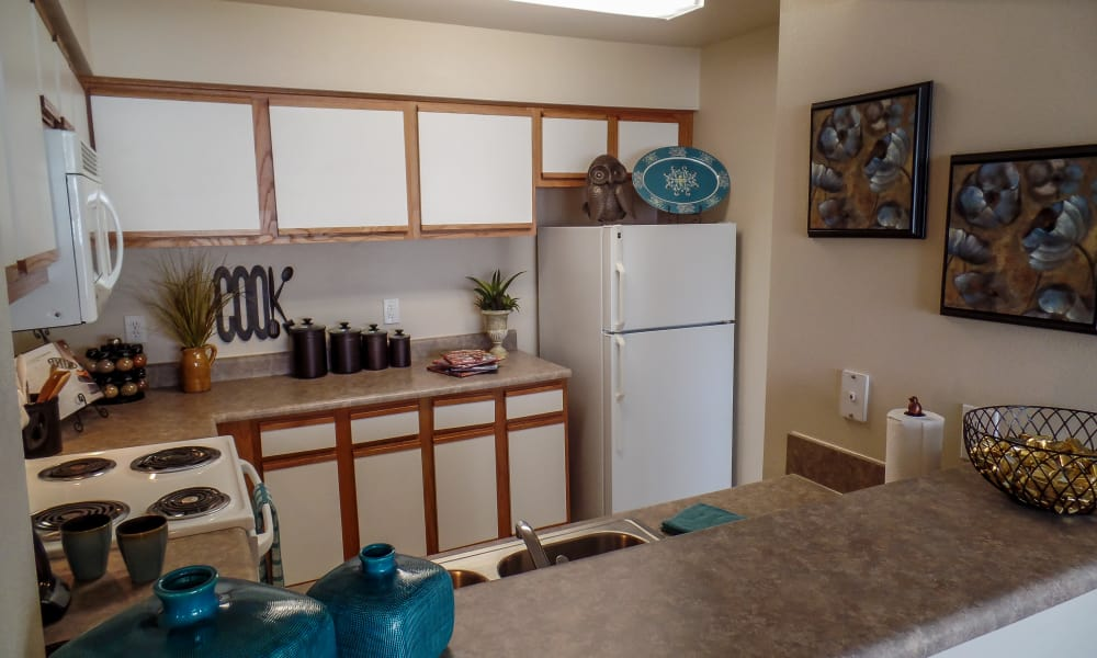 An apartment kitchen at Winchester Apartments in Amarillo, Texas