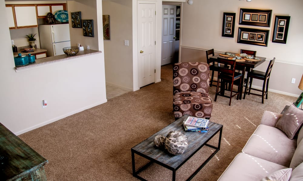 An apartment living room at Winchester Apartments in Amarillo, Texas