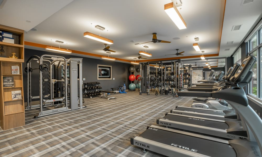 Modern fitness center at Alta Easterly in East Walpole, Massachusetts